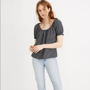 Madewell Texture & Thread Peasant Top in Navy/White Stripe, size Xsmall